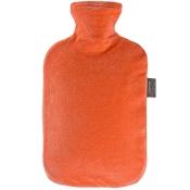 fashy Wärmflasche mit Nicki-Velour Bezug Orange