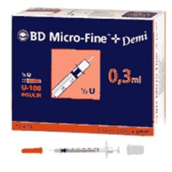 BD Micro-Fine™+ U 100 Insulinspritzen 0,3 x 8 mm