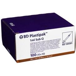 BD Plastipak™ Spezialspritze Sub-Q 26 G 1/2 mit eingeschweißter Kanüle