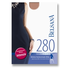 BELSANA 280den Glamour Schenkelstrumpf Größe large Farbe schwarz kurz Plusweite