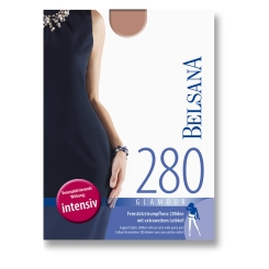 BELSANA 280den Glamour Strumpfhose für Schwangere Größe medium Farbe nougat kurz