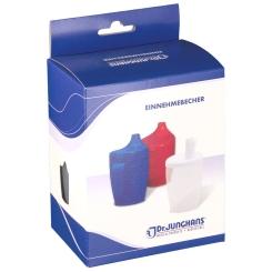 Dr. Junghans® Einnehmebecher 250 ml mit Griff weiß 2 Deckel 4 / 12 mm