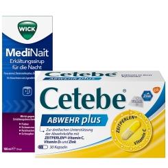 Erkältungsset WICK MediNait + Cetebe ABWEHR plus