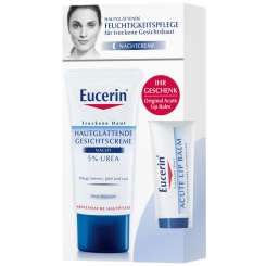 Eucerin® Hautglättende Gesichtscreme 5% Nacht Urea + Lip Balm GRATIS