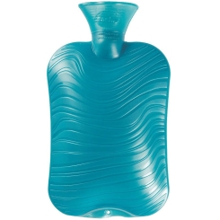 Fashy Wärmflasche Doppellamelle mit Wellen-Dekor Türkis