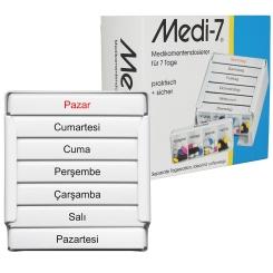 Medi-7® Medikamentendosierer in weiss für 7 Tage türkisch