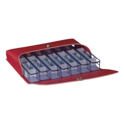 Medidos Medikamentendosierer mit Tasche aus Kunstleder rot