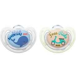 NUK® Freestyle Schnuller blau/beige (6-18 Monate)