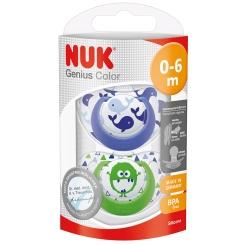 NUK® Genius Color Schnuller Silikon Gr. 1 (0-6 Monate) (Farbe nicht wählbar)