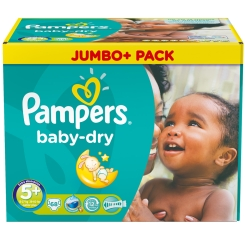 Pampers® baby-dry Gr.5+ Junior Plus 13-27kg Jumbo Plus Pack