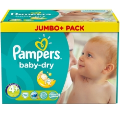 Pampers® baby-dry Größe 4+Maxi plus 9-20 kg Jumbo plus