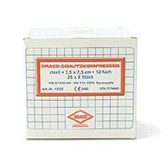 Schlitzkompressen Mull 7,5x7,5cm 12fach steril