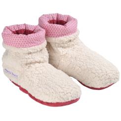 Warmies® Slippies™ Deluxe Hot Boots beige-rot gemustert mit herausnehmbaren Füllung