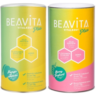 BEAVITA Vitalkost Plus, Himbeere-Joghurt + Mango Lassi - Mahlzeitenersatz