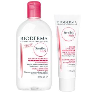BIODERMA Sensibio H2O 4-in-1 Mizellen-Reinigung 500 ml + BIODERMA Sensibio Rich Beruhigende Creme 40 ml