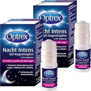 Optrex Nacht Intens Gel-Augentropfen 0,4 % Hyaluron Doppelpack