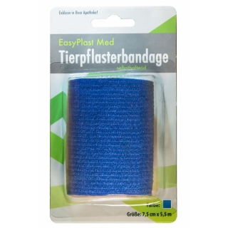 EasyPlast Med Tierpflasterbandage selbsthaftend blau 7,5 cm x 5,5 m