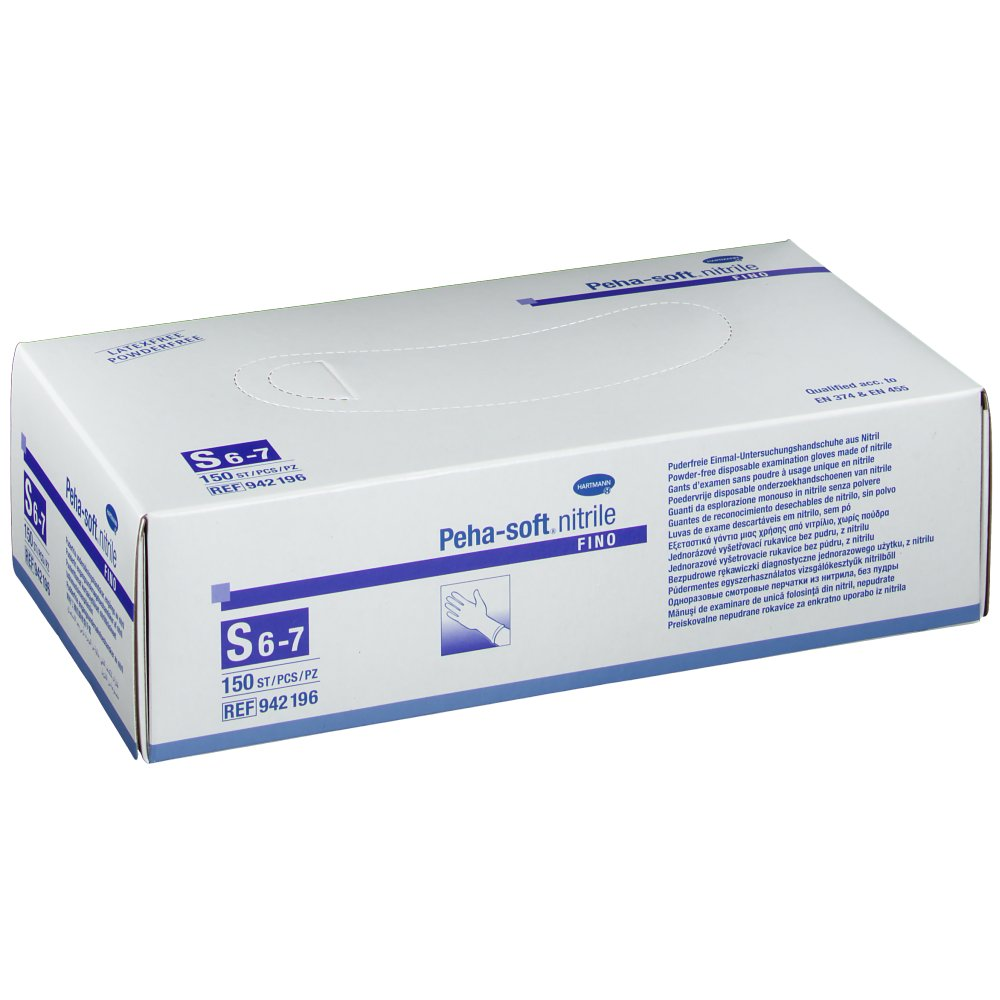 Peha-soft® nitrile fino puderfrei unsteril Untersuchungshandschuhe Gr. S 6 - 7