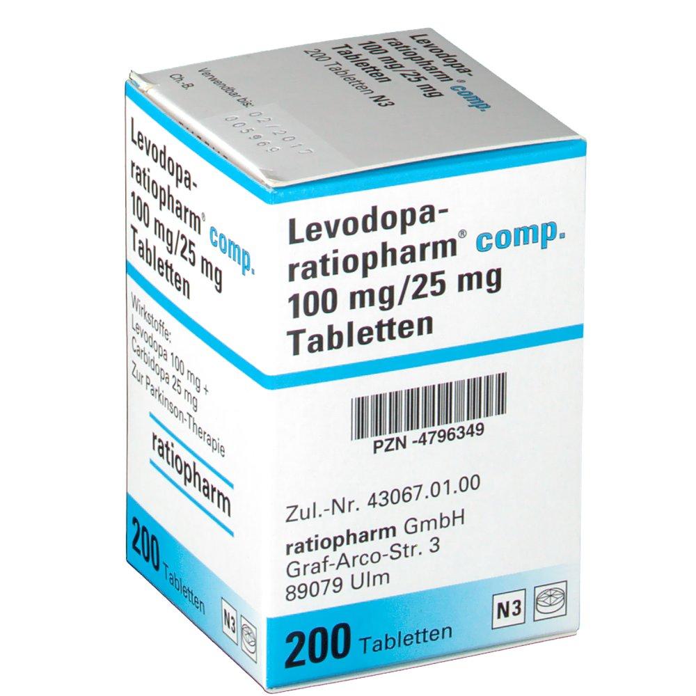 levodopa benserazide ratiopharm 100 mg 25 mg tabletten. Black Bedroom Furniture Sets. Home Design Ideas