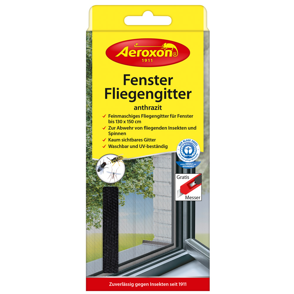 Aeroxon® Fenster-Fliegengitter Anthrazit 130 x ...
