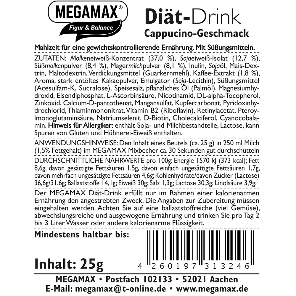 Megamax® Figur & Balance Diät-Drink Cappuccino-Geschmack