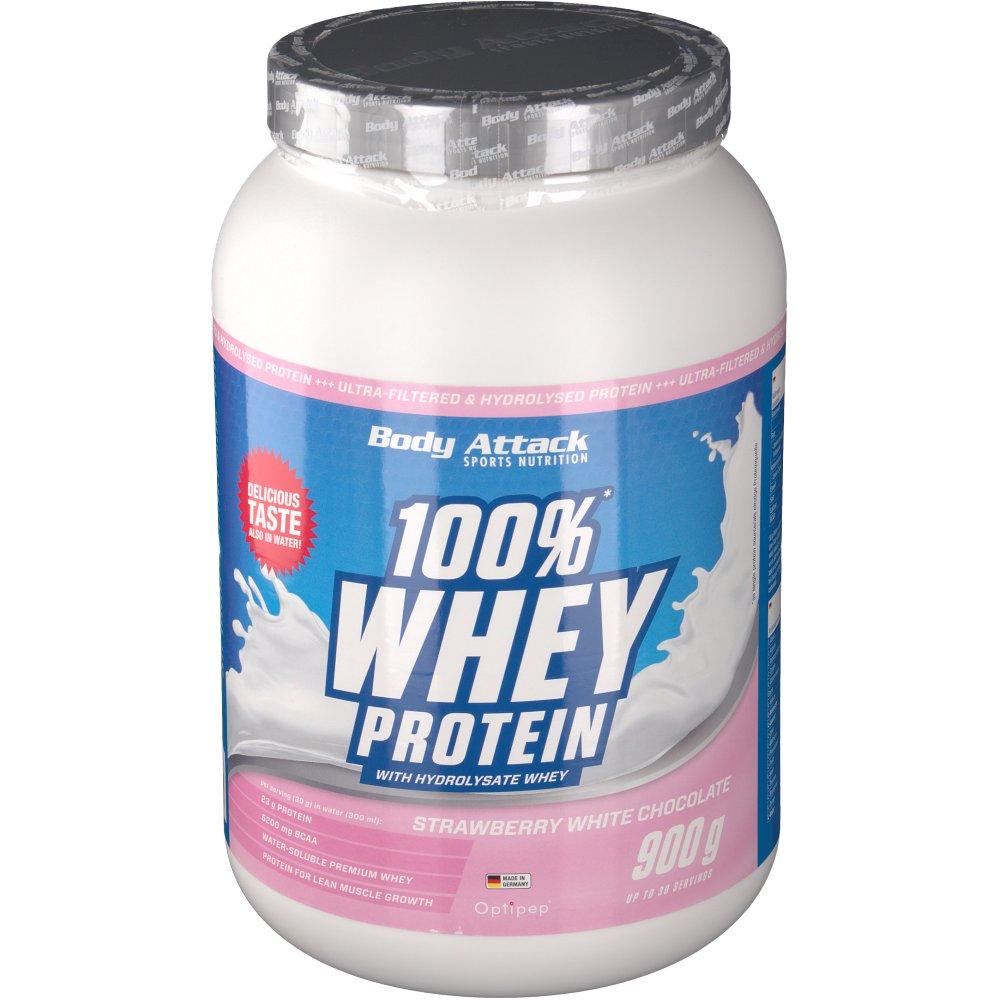 Body Attack 100 % Whey Protein Strawberry White...