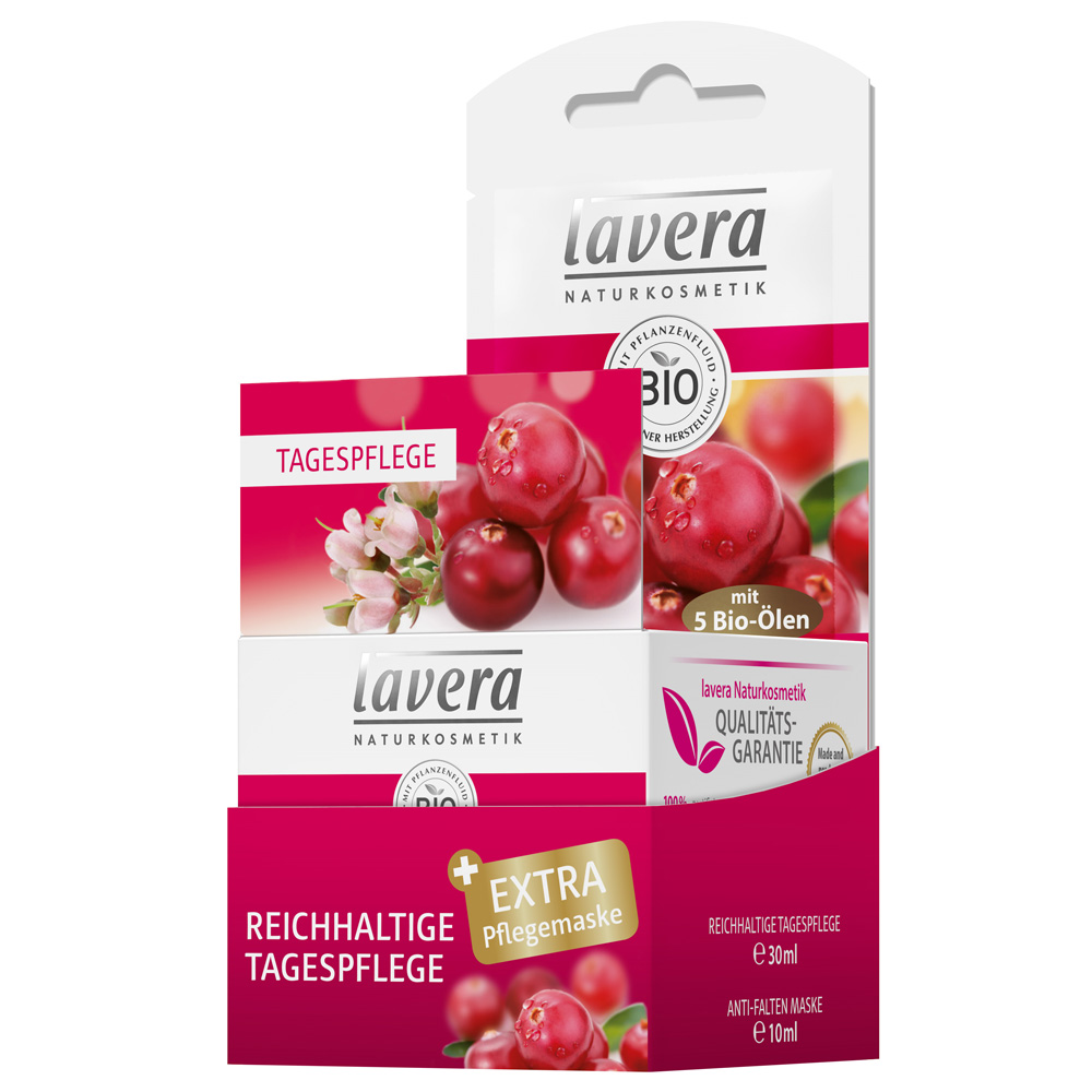 lavera Reichhaltige Tagespflege Bio-Cranberry & Bio-Arganöl + Gratis Anti-Falten-Pflegemaske Cranberry