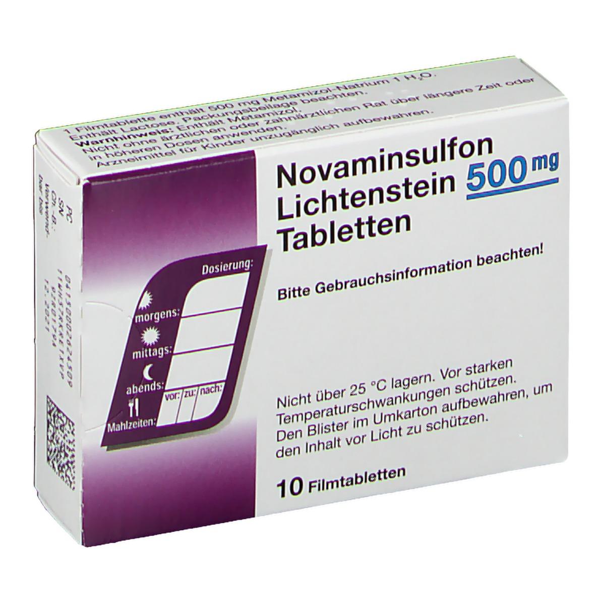 Novaminsulfon 500 mg Lichtenstein Filmtabletten 10 St