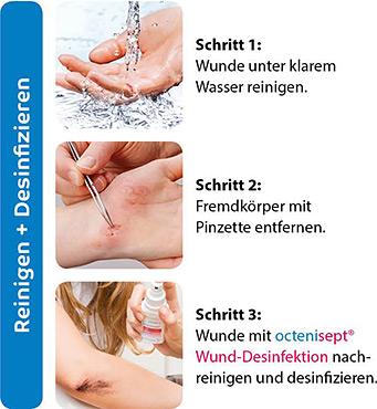 Octenisept Wundversorgung - Schritte 1-3